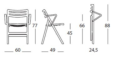 Folding air chair with arms misure
