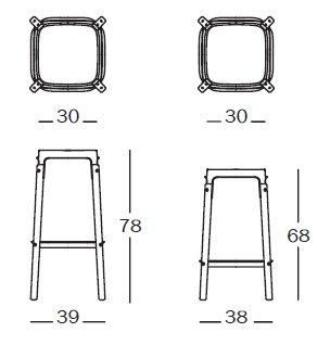 Steelwood stool misure